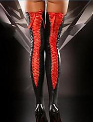 Недорогие -Жен. Тонкая ткань Супер секси Чулки - Однотонный 30D Черный Красный Лиловый Один размер