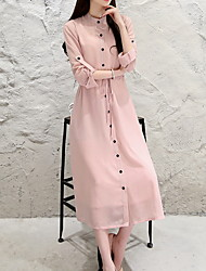 cheap -Women's Basic A Line Dress - Solid Colored Patchwork Black Pink M L XL