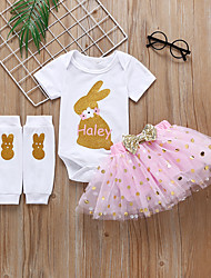 voordelige -Baby Meisjes Actief / Standaard Polka dot / Print Pailletten / Strik / Print Korte mouw Normaal Katoen Kledingset Blozend Roze