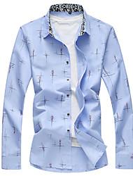 billige -Herre - Farveblok Trykt mønster Skjorte
