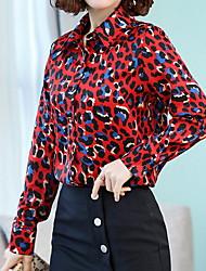 halpa -naisten ohut paita - leopardi paita kaulus