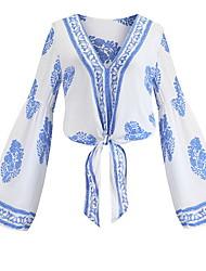 hesapli -kadın gömlek - renkli blok / geometrik v yaka