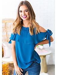 hesapli -Kadın ab / us beden bluz - düz renkli yuvarlak boyun