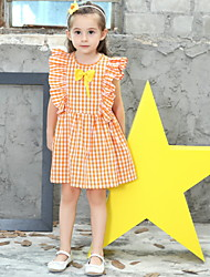 Χαμηλού Κόστους -Παιδιά Κοριτσίστικα Houndstooth Πολυεστέρας Φόρεμα Πορτοκαλί