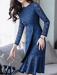 preiswerte -dünnes Etuikleid der Frauen midi khaki blau m L xl