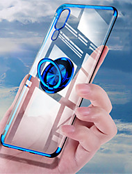 Недорогие -Кейс для Назначение Huawei Huawei P20 / Huawei P20 Pro / Huawei P20 lite Покрытие / Кольца-держатели / Ультратонкий Кейс на заднюю панель Однотонный Мягкий ТПУ / Прозрачный