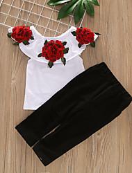 tanie -Brzdąc Dla dziewczynek Aktywny Solidne kolory Podarte Bez rękawów Regularny Regularny Bawełna / Spandeks Komplet odzieży Biały