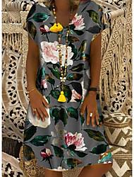 ieftine -Pentru femei De Bază Shift Rochie - Imprimeu, Floral Lungime Genunchi