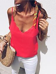 billige -Dame pluss størrelse bluse - solid farget stropp