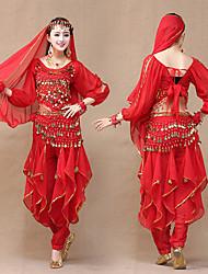 billige -Indisk jente Bollywood Voksne Dame Asiatisk Paljetter Belly Dance Costume Til Ytelse Festival Chiffon Palliet Topp Bukser Hodeplagg