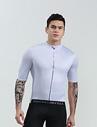 お買い得  -BOESTALK 男性用 半袖 サイクリングジャージー - ホワイト ブラック バイク シャツ トライアスロン ジャージー スポーツ ジャージー プロミックス マウンテンサイクリング ロードバイク 衣類 / 伸縮性あり
