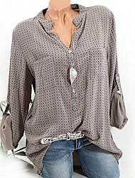 baratos -camisa slim de algodão feminino - polka dot v neck