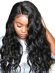 Недорогие -Синтетические кружевные передние парики Волнистый Волнистые Стиль Стрижка каскад L-образный Лента спереди Парик Черный Искусственные волосы 26 дюймовый Жен. Мягкость Новое поступление Природные волосы