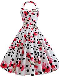 cheap -Women's Vintage Elegant Sheath Swing Dress - Polka Dot Floral Backless Ruched White L XL XXL