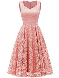preiswerte -Damen knielanges Kleid a line rechteckig weinrot blau s m l xl
