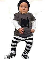 billige -Baby Gutt Aktiv / Grunnleggende Stripet / Geometrisk / Trykt mønster Lapper / Trykt mønster Langermet Normal Normal Bomull / Polyester Tøysett Brun