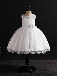 cheap -Kids Girls' Vintage / Sweet Solid Colored Sleeveless Knee-length Dress White