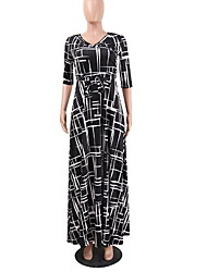baratos -Mulheres Básico balanço Vestido - Estampado, Geométrica Longo