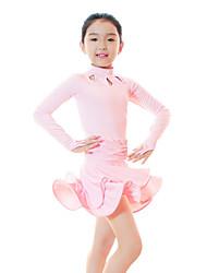 economico -Balli latino-americani / Abbigliamento da ballo per bambini Vestiti Da ragazza Addestramento Fibra di latte Con ruche / Ondulato / A strati Manica lunga Alto Abito