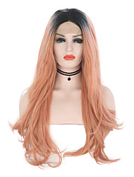 cheap -Synthetic Lace Front Wig Wavy Ombre Middle Part Ombre Color Synthetic Hair 24 inch Women's Adjustable / Heat Resistant / Women Ombre Wig Long Lace Front