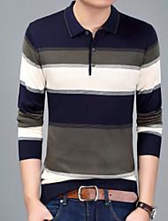 baratos -Homens Camiseta Listrado Decote Redondo