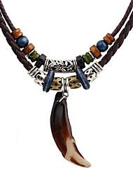 Недорогие -Муж. Слоистые ожерелья Двухслойные зонты Этнический Кожа PU Хром Черный 45 cm Ожерелье Бижутерия 1шт Назначение Повседневные