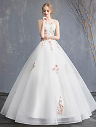 Χαμηλού Κόστους -Ίσια Γραμμή Στράπλες Μάξι Δαντέλα / Οργάντζα / Τούλι Φορέματα γάμου φτιαγμένα στο μέτρο με Χάντρες / Διακοσμητικά Επιράμματα με LAN TING BRIDE®