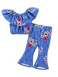 tanie -Dzieci Dla dziewczynek Moda miejska Kwiaty Nadruk Bez rękawów Regularny Poliester Komplet odzieży Niebieski