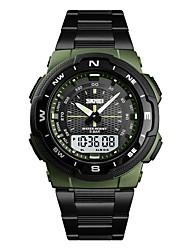 Недорогие -Муж. электронные часы Цифровой Нержавеющая сталь Черный / Серебристый металл / Золотистый Защита от влаги Секундомер С двумя часовыми поясами Аналого-цифровые На каждый день Мода -
