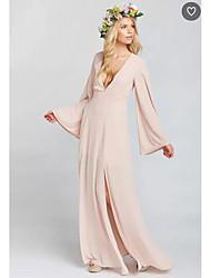 זול -גזרת A צלילה עד הריצפה שיפון שמלה לשושבינה  עם שסע קדמי על ידי LAN TING BRIDE®