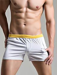 Недорогие -Муж. Размер ЕС / США Черный Серый Желтый Мальчик ноги Трусики, шорты и т.д. Купальники - Однотонный L XL XXL Черный