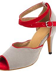 abordables -Mujer Zapatos de Baile Latino Ante Tacones Alto Corte Slim High Heel Personalizables Zapatos de baile Gris