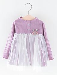 levne -Dítě Dívčí Základní Jednobarevné Síťka Dlouhý rukáv Nad kolena Polyester Šaty Světlá růžová