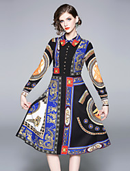 preiswerte -Damen Boho Swing Kleid - Druck, Paisley-Muster Midi