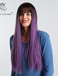 Недорогие -Парики из искусственных волос Естественные прямые / Естественный прямой Фиолетовый С чёлкой Черныйлиловый Искусственные волосы 28 дюймовый Жен. Простой / синтетический / Волосы с окрашиванием омбре