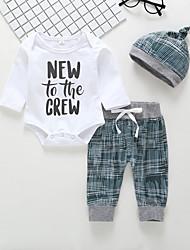 preiswerte -Baby Jungen Aktiv / Grundlegend Druck Druck Langarm Lang Baumwolle Kleidungs Set Weiß
