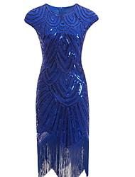 tanie -Damskie Podstawowy Bodycon Sukienka - Solidne kolory, Frędzel Do kolan