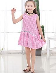 Χαμηλού Κόστους -Παιδιά Κοριτσίστικα Houndstooth Πολυεστέρας Φόρεμα Ανθισμένο Ροζ