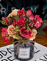 Χαμηλού Κόστους -Ψεύτικα λουλούδια 2 Κλαδί Κλασσικό Γάμος Λουλούδια Γάμου Τριαντάφυλλα Αιώνια Λουλούδια Λουλούδι για Τραπέζι