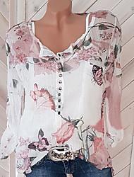 Недорогие -Жен. С принтом Блуза V-образный вырез Свободный силуэт Уличный стиль Цветочный принт / Весна / Лето / Осень