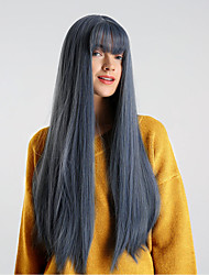 cheap -Synthetic Wig Natural Straight Blue With Bangs Royal Blue Synthetic Hair 26 inch Women's Synthetic / Comfortable / Natural Hairline Blue Wig Medium Length Capless HAIR CUBE