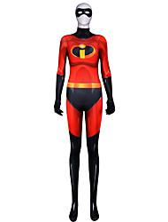 저렴한 -젠타이 수트 모프수트 의상 Superman 닌자 어른' 코스프레 코스츔 할로윈 루비 컬러 블럭 탄성 LYCRA® 여성용 할로윈 카니발 가장 무도회