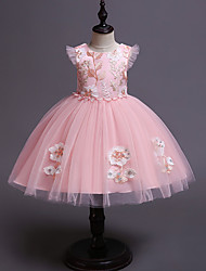cheap -Kids / Toddler Girls' Vintage / Sweet Floral Sleeveless Knee-length Dress Pink