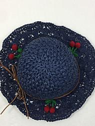 Недорогие -Жен. Винтаж Соломенная шляпа Солома,Однотонный Бежевый Темно синий Хаки