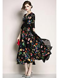 저렴한 -여성용 우아함 스윙 드레스 - 플로럴, 페플럼 패치 워크 미디