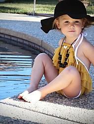 abordables -Enfants Fille Actif / Le style mignon Couleur Pleine Dos Nu / Lacet Sans Manches Polyester Maillot de Bain Jaune