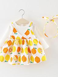 Χαμηλού Κόστους -Μωρό Κοριτσίστικα Βασικό Φρούτα Patchwork Μακρυμάνικο Πάνω από το Γόνατο Βαμβάκι Φόρεμα Λευκό