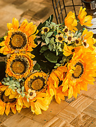 Χαμηλού Κόστους -Ψεύτικα λουλούδια 1 Κλαδί Κλασσικό Πάρτι Ποιμενικό Στυλ Ηλιοτρόπια Αιώνια Λουλούδια Λουλούδι για Τραπέζι