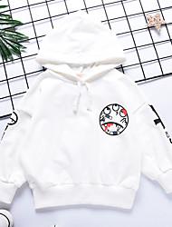 abordables -Enfants Garçon Actif / Basique Couleur Pleine / Imprimé Imprimé Manches Longues Coton Pull à capuche & Sweatshirt Blanc