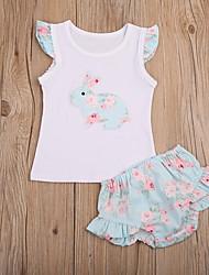 お買い得  -赤ちゃん 女の子 活発的 フラワー 半袖 レギュラー ポリエステル アンサンブル イエロー